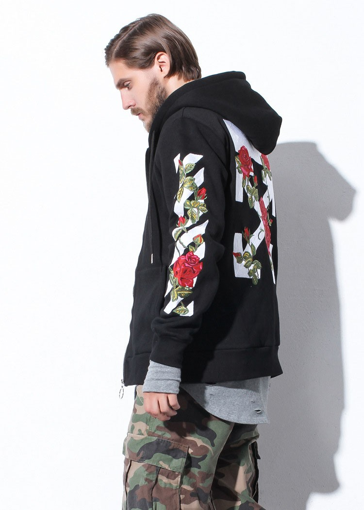 Aolamegs Men Hoodies Fashion Vintage Floral Embroidery Cardigan Jacket Hooded Zipper Outwear Off White Couples Red Black Hoodie (26)