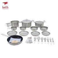 Кит титановый, ультралегкий Кемпинг посуда для похода на открытом воздухе набор посуды для пикника кемпинга кухонный горшок Сковорода 21 в 1