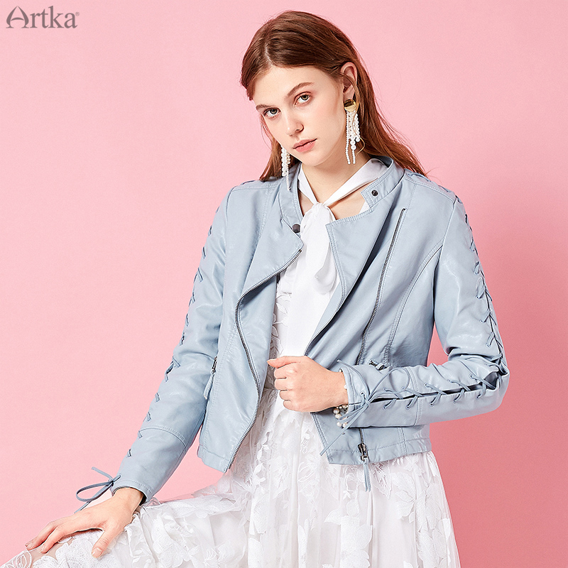 ARTKA 2019 Spring New Women Short Jacket Full Sleeve Solid Color Cool Casual Lady Short Coat