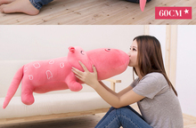 cute plush pink hippo toy cartoon hippo doll gift toy about 80cm