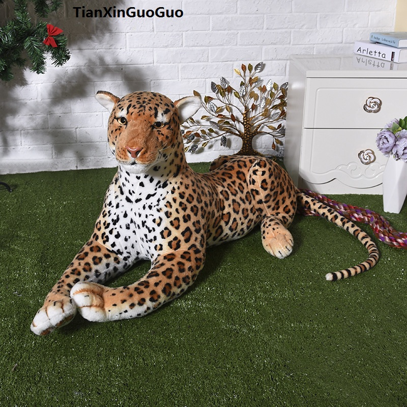 large 85cm lying cartoon leopard plush toy doll throw pillow birthday gift h2312 rovertime rovertime rtm 85