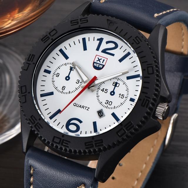 9541f597ce7 2018 Marca XINEW Originais Dos Homens de Couro Casual Relógios Data do  Calendário de Moda relógio