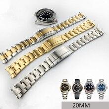 MERJUST 20mm 316lL Gümüş Altın Paslanmaz çelik saat kordonları Kayış RX Daytona Denizaltı Rol Alt mariner Bileklik Bilezik