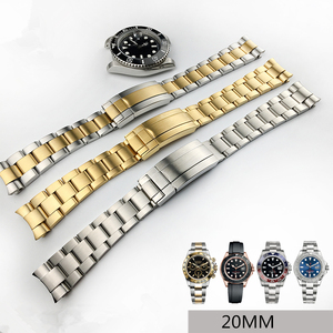Image 1 - MERJUST 20mm 316lL Silver Gold Stainless steel Watch Bands Strap For RX Daytona Submarine Role Sub mariner Wristband Bracelet