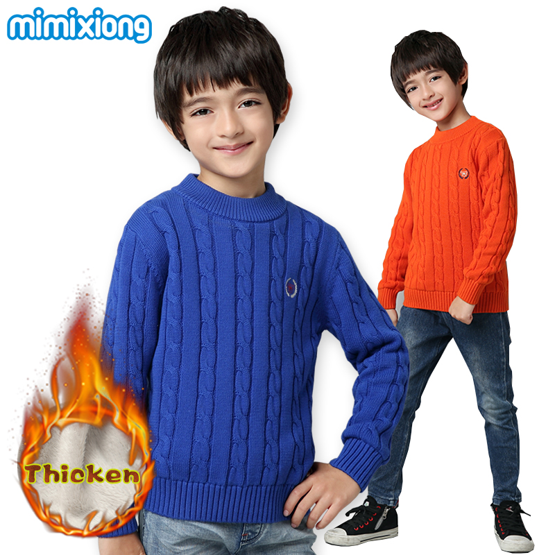 Winter Thicken Teenage Boys Sweaters Tops Autumn Cable Knit Kid Pullover Blue Children Cotton Knitwear Casual O Neck Full Sleeve 2018 autumn winter boys sweaters fashion blue kids knit pullovers jumper solid long sleeve toddler knitwear top children clothes page 2