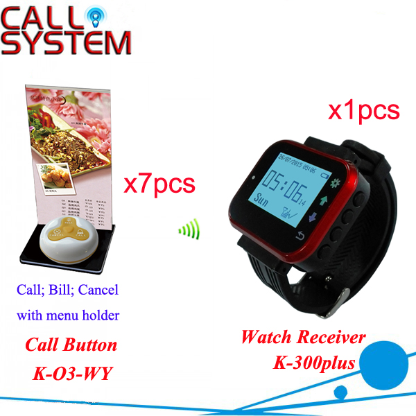 Waiter Pager Calling System K-300+O3-Y+H for restaurant with 7pcs call button and 1pcs watch receiver wireless table call bell system k 236 o1 g h for restaurant with 1 key call button and display receiver dhl free shipping