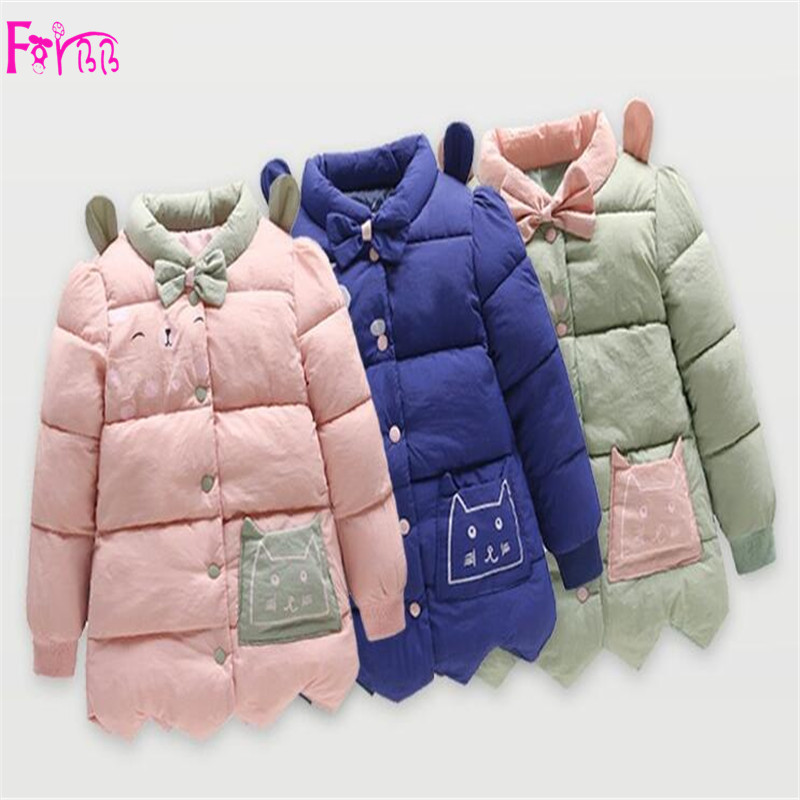 Kids Children's Clothing Outerwear Down Parkas children coat girls coats and jackets pink Bule Printed children park
