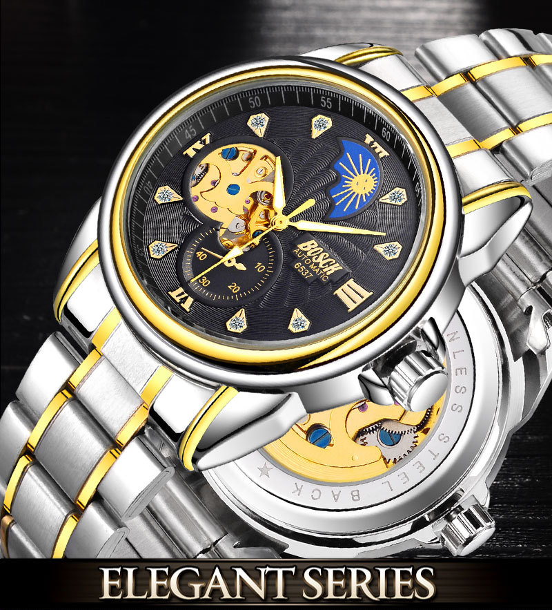 Zegarek Meski Men Watches Fashion BOSCK Automatic Mechanical Watch Waterproof Sports Watch Horloges Mannen Relojes Montre Homme 4