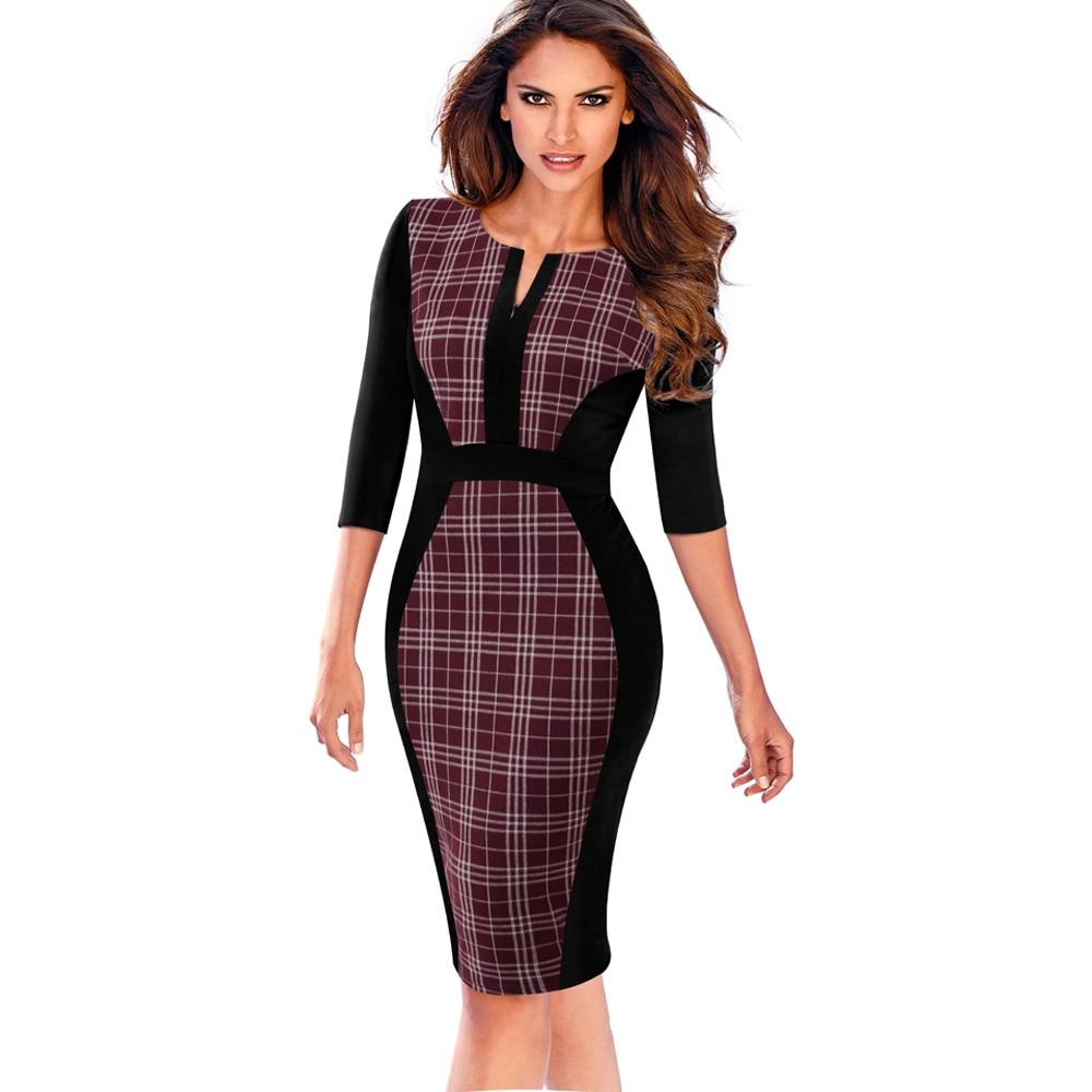 Nice-forever Women Retro Contrast Patchwork Wear to Work Business vestidos Office Bodycon Zipper Sheath Female Dress B409