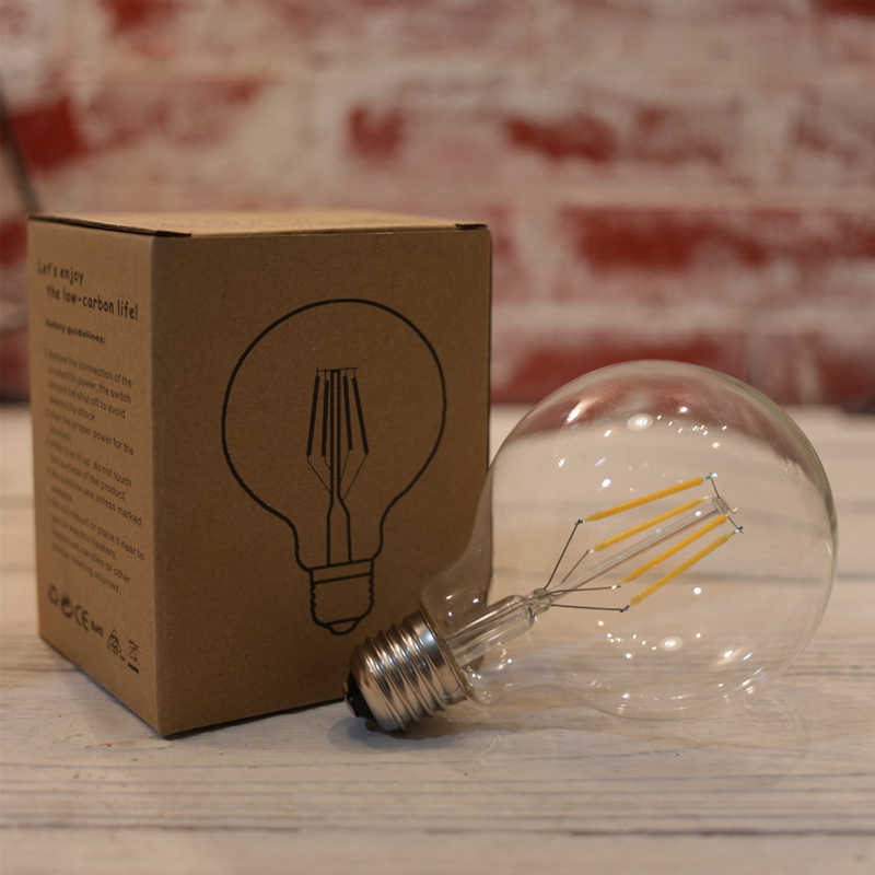 LATTUSO Edison Led Filament Bulb G80 G95 G125 Big Global light bulb 2W 4W 6W 8W filament bulb E27 clear glass indoor lamp AC220V