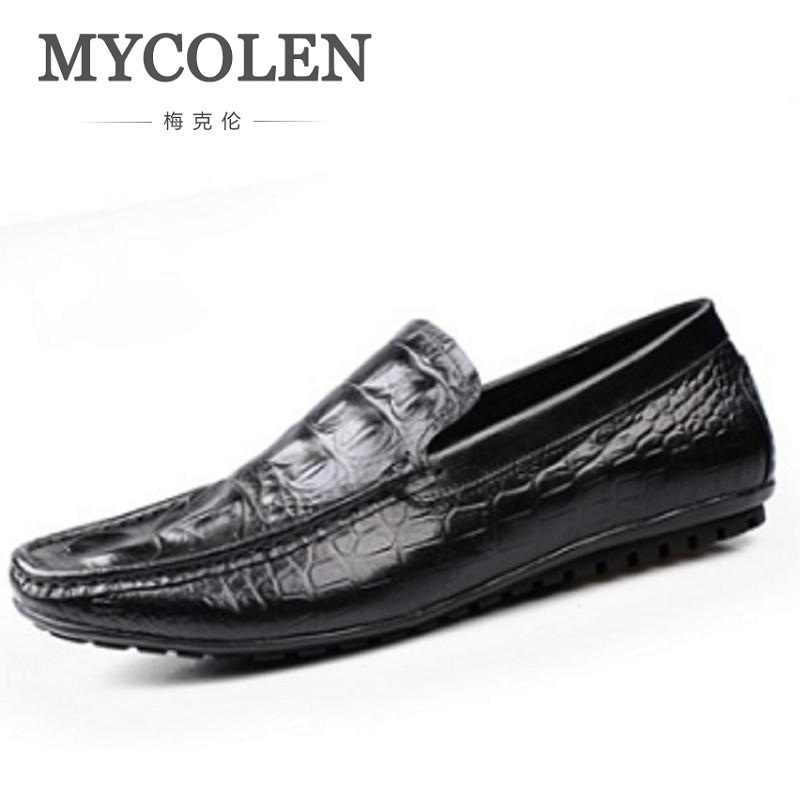 MYCOLEN Loafers Crocodile Fashion Solid Men Shoes Breathable Slip On Spring Summer Formal Anti-Slip Male Footwear Black/Brown branded men s penny loafes casual men s full grain leather emboss crocodile boat shoes slip on breathable moccasin driving shoes