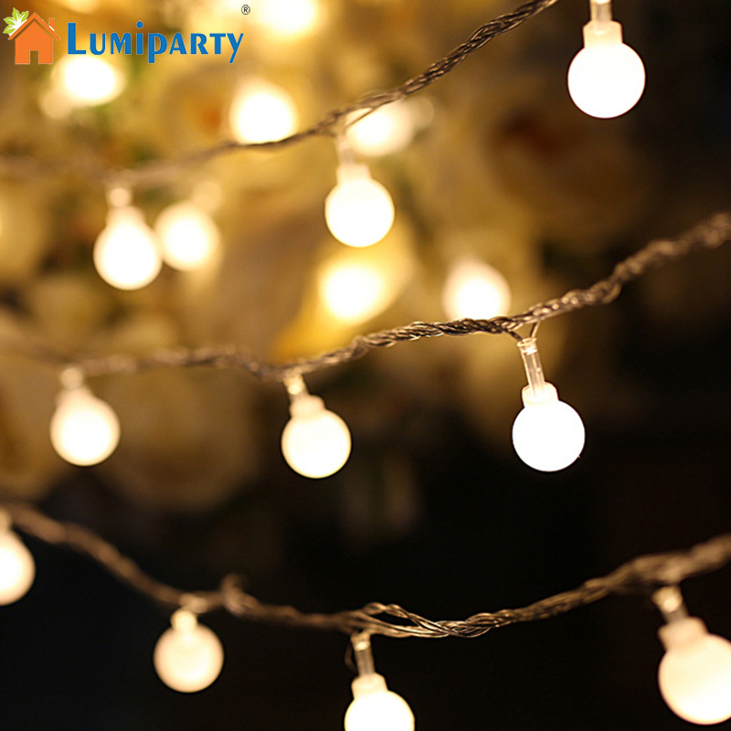 Christmas Tree Indoor Lights: 1.5M Fairy Garland LED Ball String Lights Waterproof For