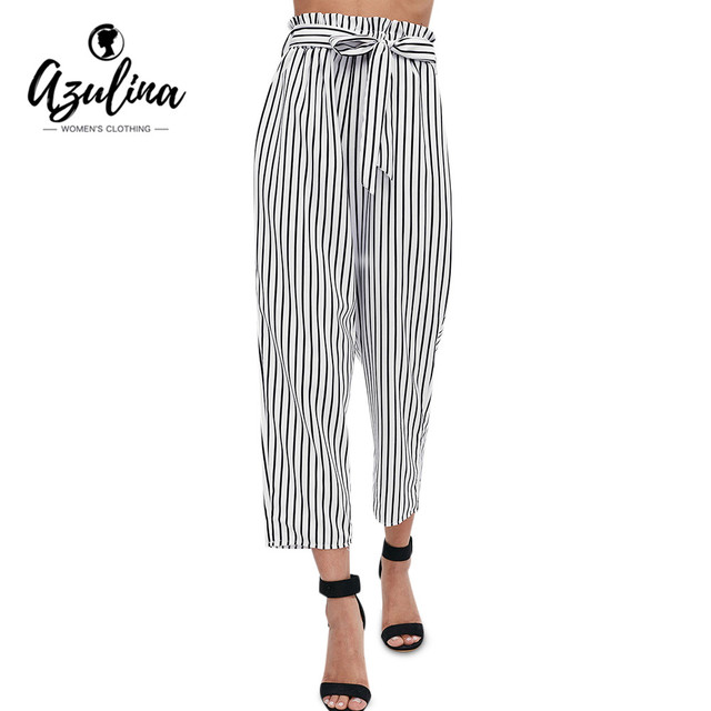 fe70ca8d4 AZULINA Striped Paper Bag Pants 2018 Hot Selling Fashion Women High Waist  Pockets Ninth Pants Trousers Party Casual Harem Pants
