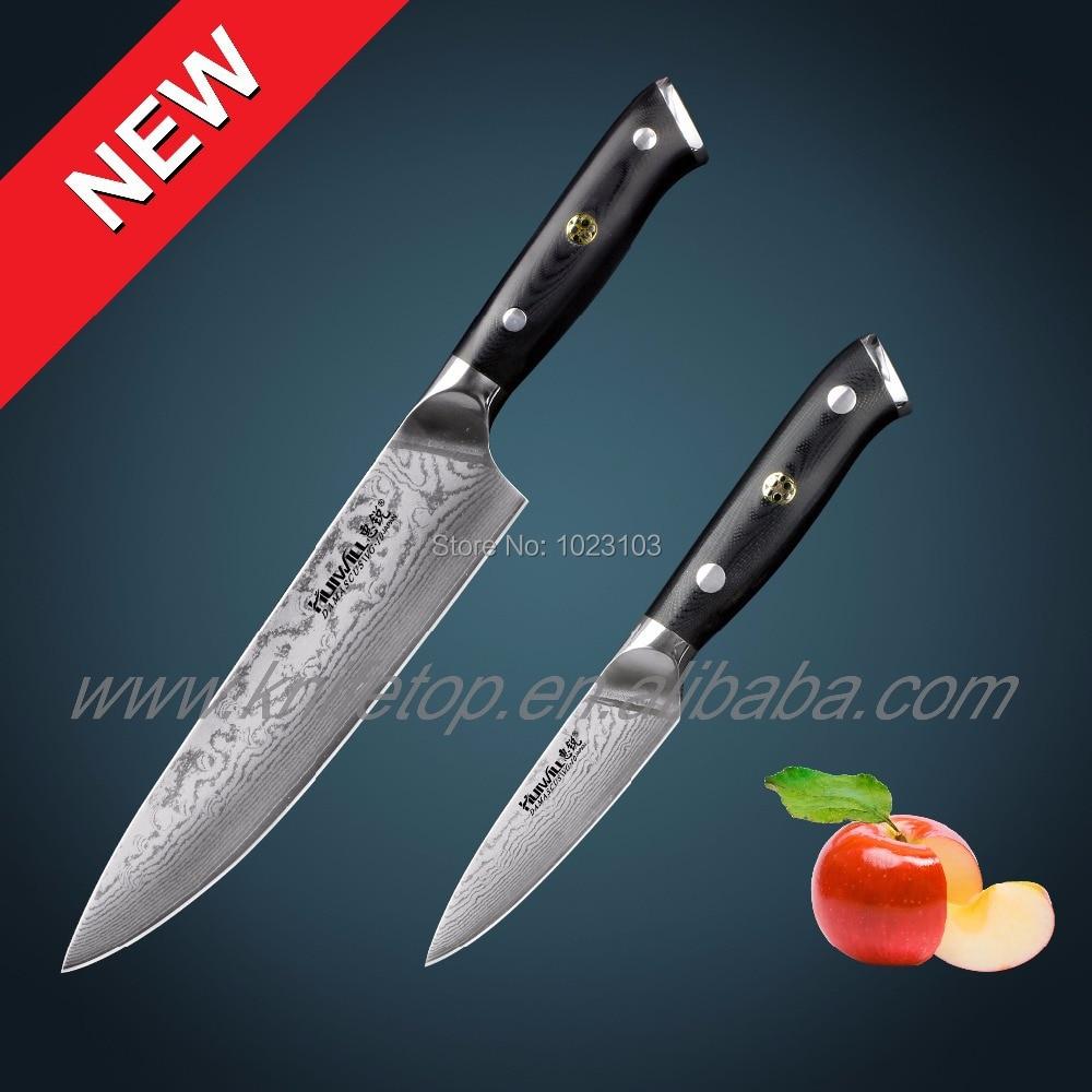Luxury 67 layers Japanese VG10 Damascus steel chef kitchen knife <font><b>set</b></font> Fruit knives with Mosaic Rivet