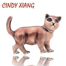 CINDY XIANG Cute Cat Spille per Le Donne Smalto Bambini Spilli 3 Colori Disponibili Monili Animali di Modo Borsa Cappotto Accessori Regalo(China)
