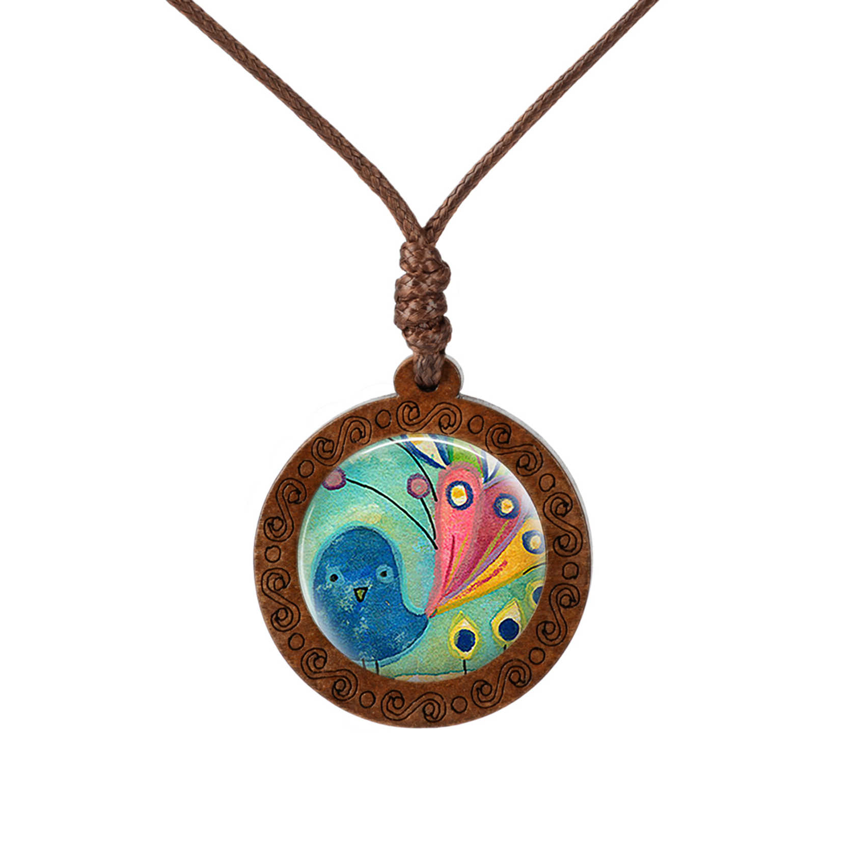 Cartoon Bird Pattern Pendant Wood Necklace Fashion Cute Pink Pig Glass Cabochon Pendant Long Sweater Chain Vintage Necklace