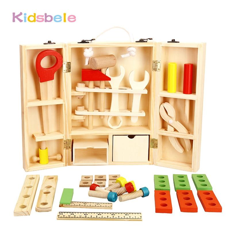 купить Kids Wooden Toolbox House Pretend Play Toys For Children Simulation Repair Screwdriver Nut Toolbox Intelligence Development Toy по цене 1876.05 рублей