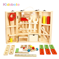 Niños caja de herramientas de madera casa pretend play toys para niños de simulación de reparación destornillador tuerca caja de herramientas de desarrollo de inteligencia