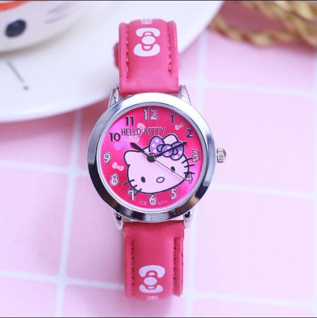 29af5a8f13 2018 Hello Kitty Cartoon Watches Kid Girls Leather Straps Wristwatch Children  Hellokitty Quartz Watch Cute Clock Montre Enfant