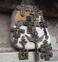 8 UNIDS diferentes estilos Regalos Religiosos Católicos plateados Bronce antiguo de la Cruz Crucifijo oración Rosario cruces Colgante Envío gratis