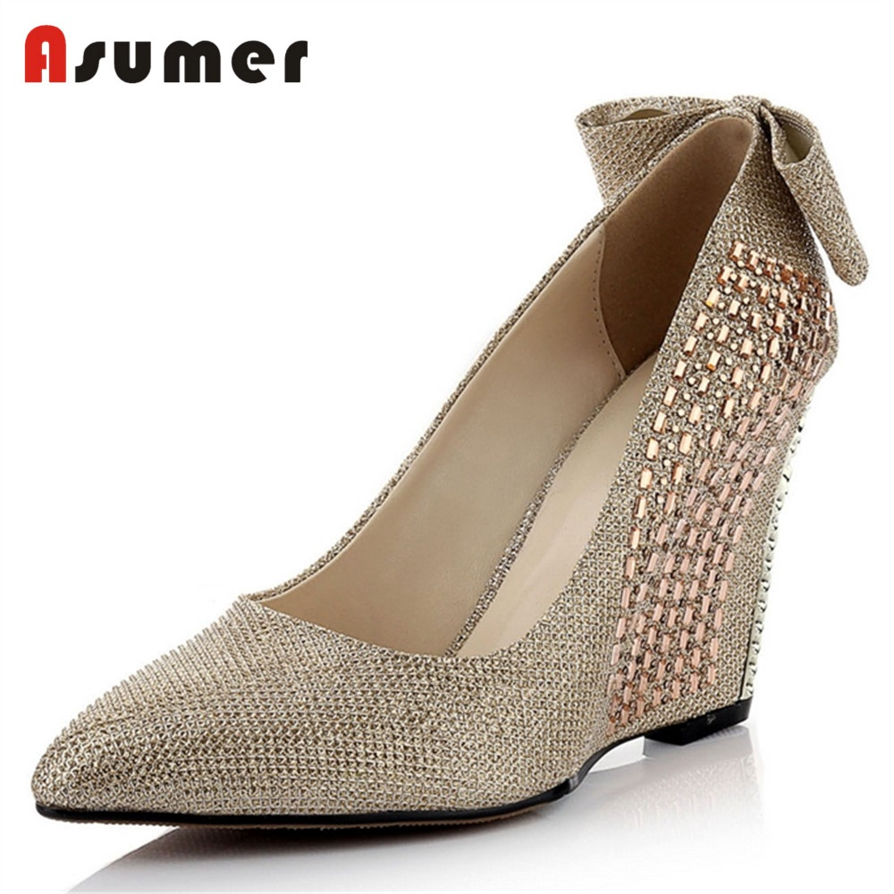 ASUMER 2018 NEW fashion sequined cloth pumps women pointed toe wedges rhinstone bowknot summers shoes party wedding shoes