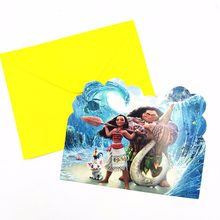6pcs/set Moana Babyshower Cartoon Birthday Party Supplies Invitation Cards Paper Children Happy Birthday Party Supplies Set(China)