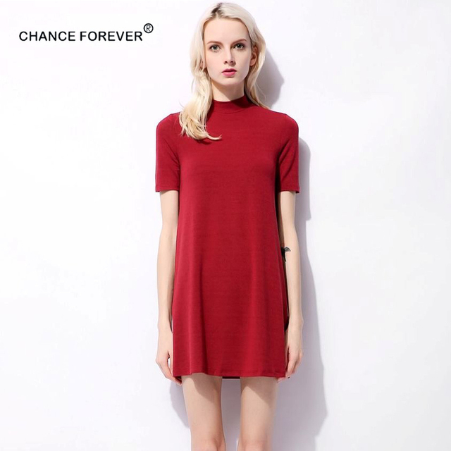 6a74d1709f8 Chance Forever small mock neck high waist a line dress Dresses Party Dresses  candy solid color Vintage Vestido