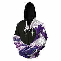 Fall And Winter Waves With Fleece Digital Zipper Coat Rainbow Horse Print Hoodies American Flag Print