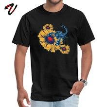 Scorpion Flowers Japan Sleeve Tops Tees Round Neck Guts Fabric Men T Shirts Slim Fit Sweatshirts Prevalent