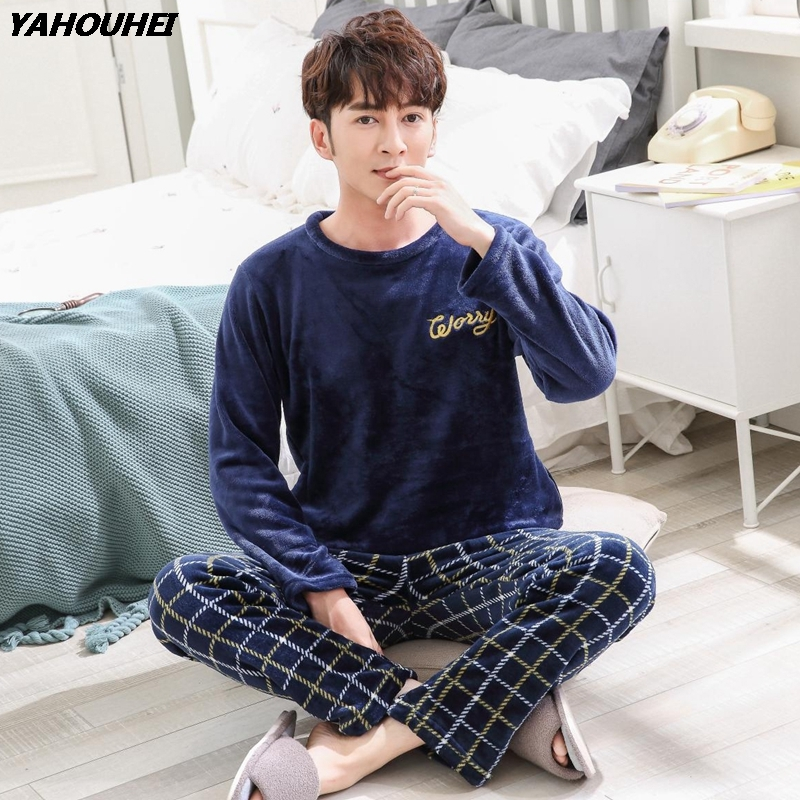 2019 Winter Thick Warm Flannel Pajama Sets For Men Long Sleeve Coral Velvet Pyjama Male Loungewear Plaid Pant Sleepwear Homewear