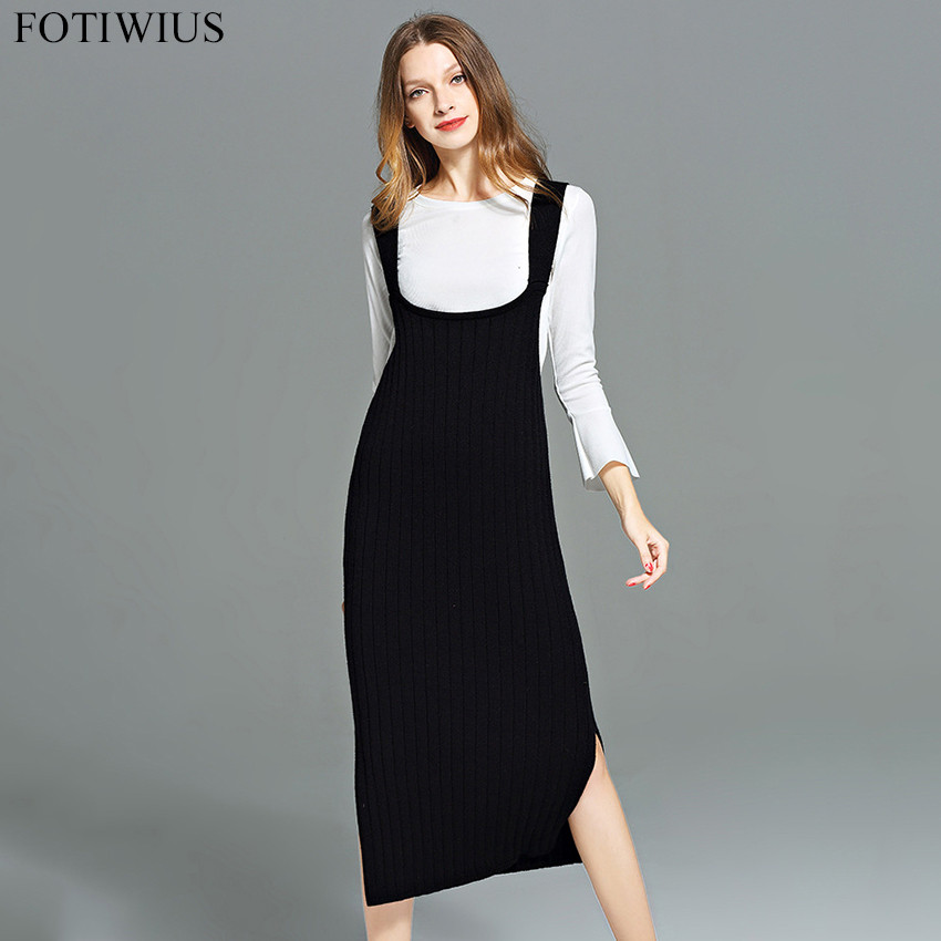 L-5XL Plus Size Women Clothing 2017 Autumn Winter Spaghetti Strap Knitted Dress Women Long Sweater Dresses Pencil Brief Vestidos