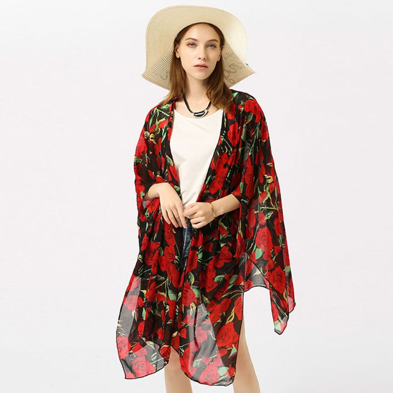 2019 Fashion Womens Summer Oversized Chiffon Swimsuit Cover Up Vintage Red Rose Flower Printed Asymmetric Hem Open Front Kimono Cardigan Top A Great Variety Of Goods