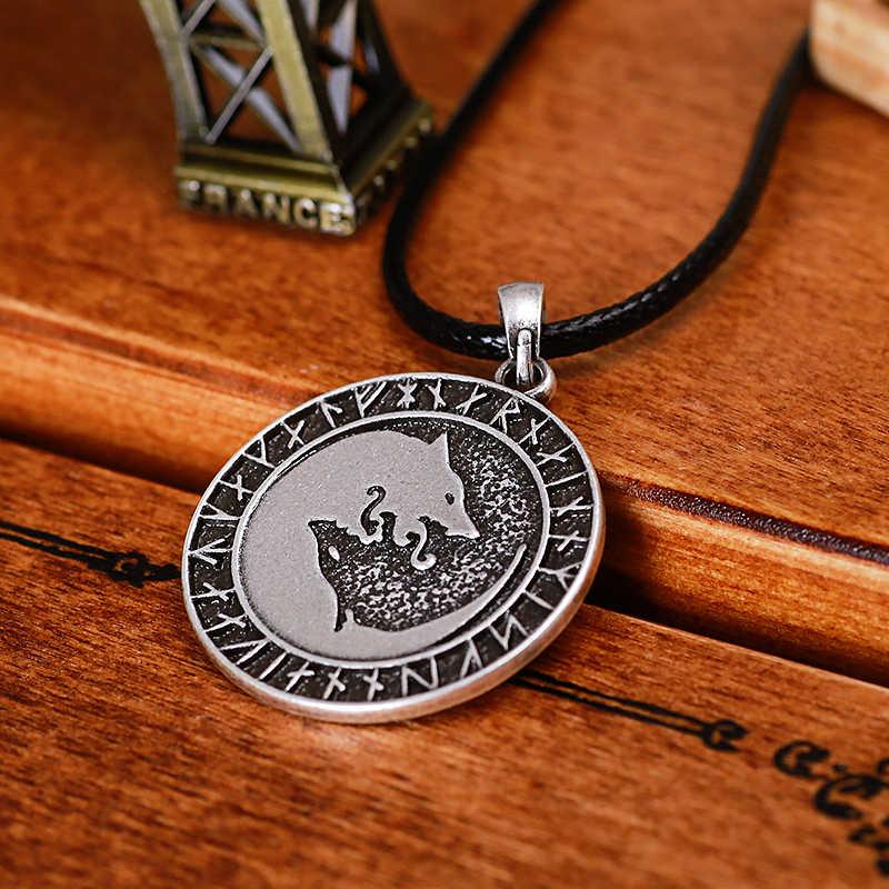 Mit Totem Ying Yang wilk runiczne rune koło Amulet wisiorek Norse Viking Pagan biżuteria talizman wisiorek