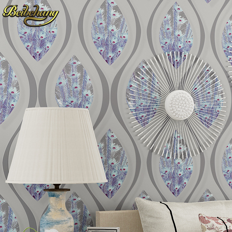beibehang Curved striped feathers Wall Paper Wall covering Non woven TV Background Wallpaper For Living room Papel De Parede 3D beibehang children room papel de parede 3d wallpaper non woven boy girl girl wall paper living room simple thickening stripes