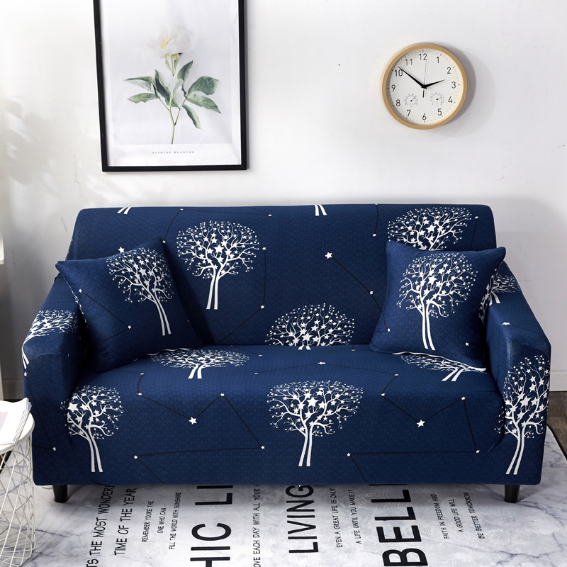 US $8.0 |Trees Pattern Universal Stretch Couch/Corner Sofa Slipcovers Blue  Elastic Christmas couch covers beauty sofa cover loveseat-in Sofa Cover ...