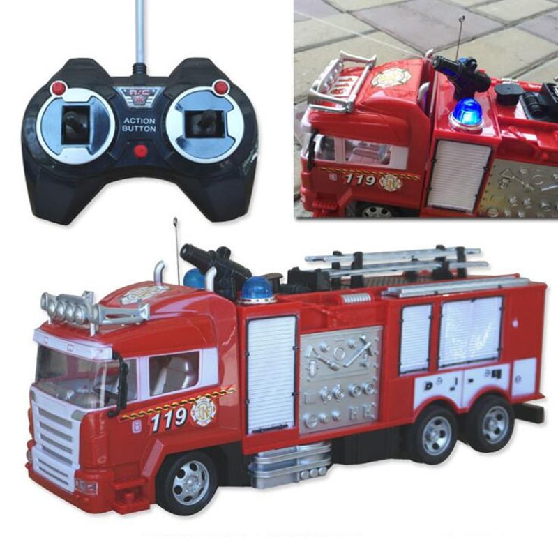 4channel 2.4G simulation remote control fire engine fire truck with spray function remote control car model sound and light toys shu ke 1 18 t1 volkswagen bread schuco berlin fire truck engine car model