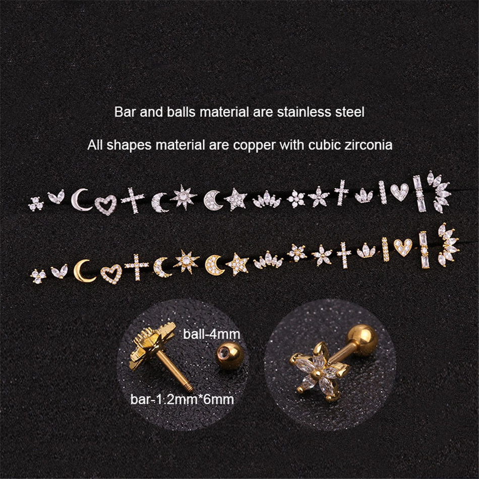 HTB13lg2dqWs3KVjSZFxq6yWUXXaM - 1 Piece Gold White Moon Star Flower Heart Cross Marquise Steel Barbell CZ Tragus Diath Cartilage Helix Rook Piercing Earring