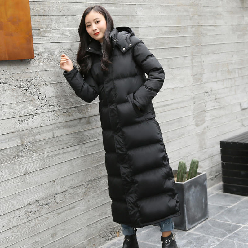 Plus Size 3XL White Duck Down Women Winter Jacket New X-Long Black Woman   Parka   Hooded Thicken Warm Down Jacket Winter Coat C5036
