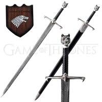 Для Игры престолов меч Джон Сноу Реплика настоящая нержавеющая сталь с стеной Подвесная подставка/черная деревянная оболочка новое поступ