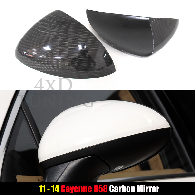 For Porsche Cayenne 958  Carbon Fiber Mirror Cover Rear View Side Cover Add on Style Gloss Black Finish 2011 2012 2013 2014 high quality stainless steel side moulding cover 6pcs set car styling accessories for porsche cayenne 2011 2012 2013 2014