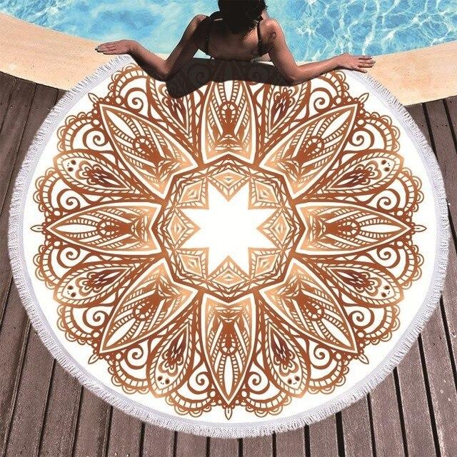 ボヘミアン曼荼羅ラウンドビーチタオルタッセル大人マイクロファイバータオルソフト吸収夏水泳スポーツバスタオルナプキンプラージュ