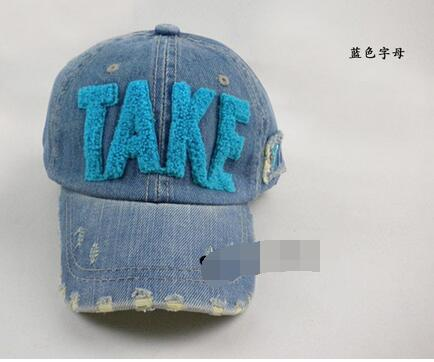 10pcs/lot free shipping casual style children's baseball cap TAKE letter cowboy denim hat parent-child cap 4colors cap