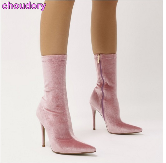 Newest Designer Sweet Pink Velvet Dress Boots Pointed Toe Stiletto Heels Ankle Boots Delicate Red Green Black Fall Boots