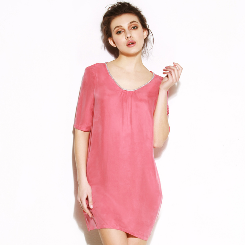 2013 solid color one-piece dress short-sleeve fashion plus size short skirt summer
