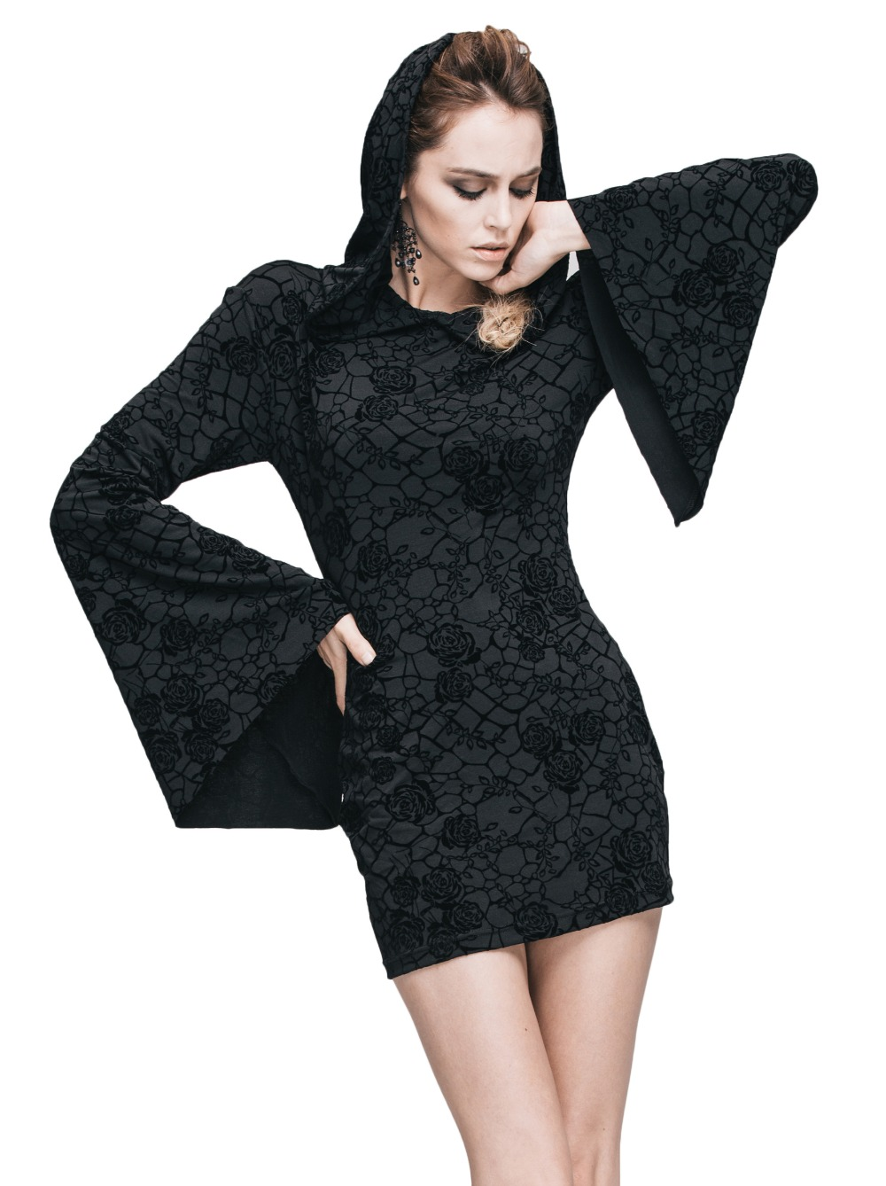 Steampunk Gothic Ukraine Black Dresses For Women Roses Print Flocking Knitted Dress With Hooded Long Sleeve Women Clothing 9