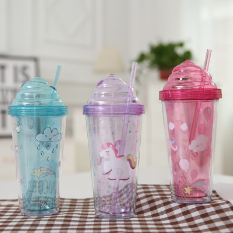 420ml Summer Cartoon Unicorn Printed Drinking Water Cup Portable Cup With Straw Double Layer Cold Water Bottle For Kids Gift