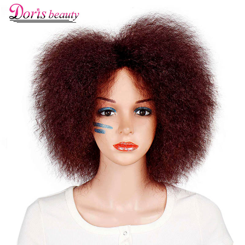 Image 5 - Synthetic Afro Wig for Women African Dark Brown Black Red Color Yaki Straight Short Wig Cosplay Hair-in Synthetic None-Lace  Wigs from Hair Extensions & Wigs