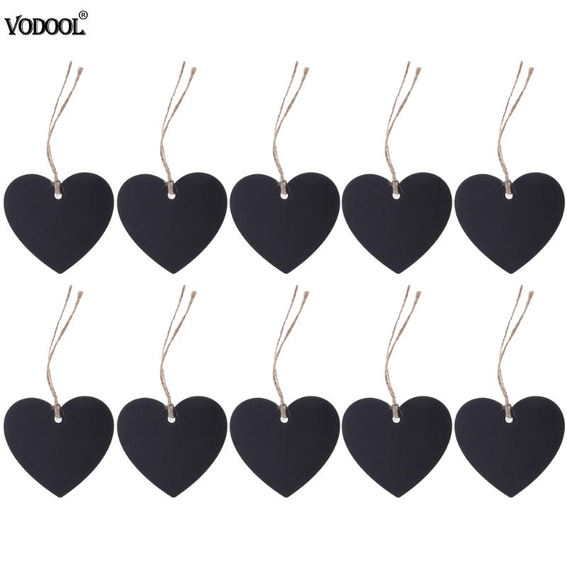 10pcs Mini Blackboard Pendant Wood DIY Double Side Heart Shaped Wood Home Furnishing Decor