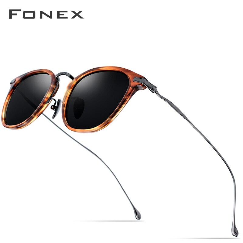 FONEX pur B titane acétate lunettes de soleil polarisées hommes 2019 nouvelle marque de mode Designer Vintage carré lunettes de soleil pour les femmes