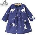 Розничная 2-8 лет наборы полный рукавом печати пальто + мультфильм dress дети дети весна осень осень